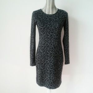 Banana Republic dress black gray leopard size 2